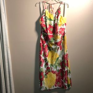Ann Taylor LOFT 100% silk Halter Floral Dress